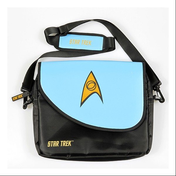 Umhängetasche blau   Messenger Bag für Notebooks Star Trek Science