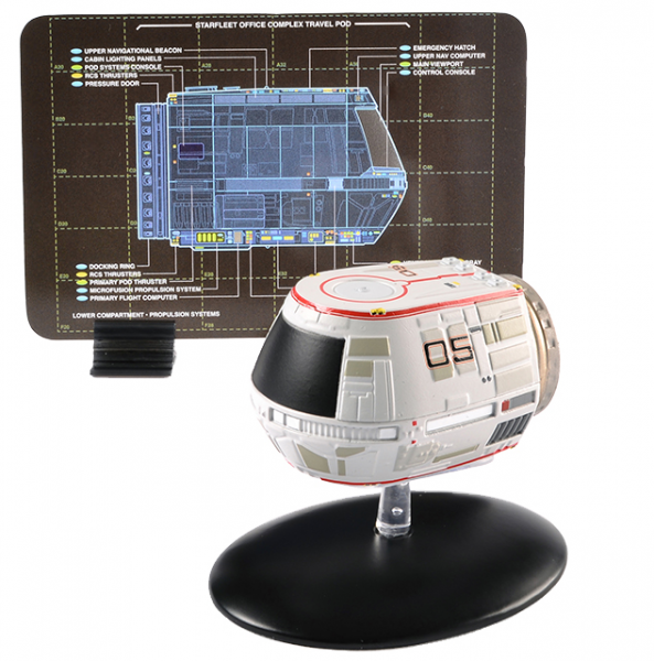 Travel Pod shuttle (Earth Spacedock) - Star Trek Raumschiff Modell mit englischem Magazin