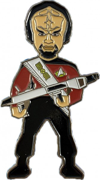 Lieutenant Commander Worf mit Phaser Gewehr Sammler Pin Star Trek official Collectors Edition