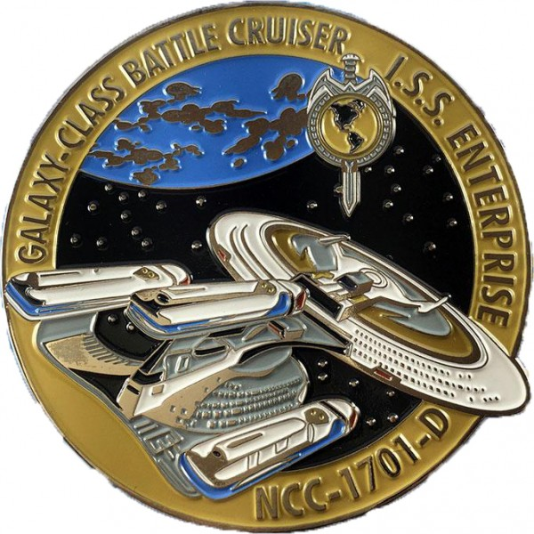 I.S.S. Enterprise NCC-1701-D gelb Sammler Pin Star Trek official Collectors Edition