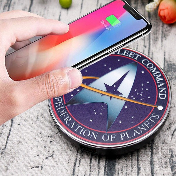 Star Trek Qi Wireless Charger with 8000 mAh Backup Battery Pack for Wired and Wireless Charging. Portable Wireless Phone Charger with Starfleet Illuminated Logo.