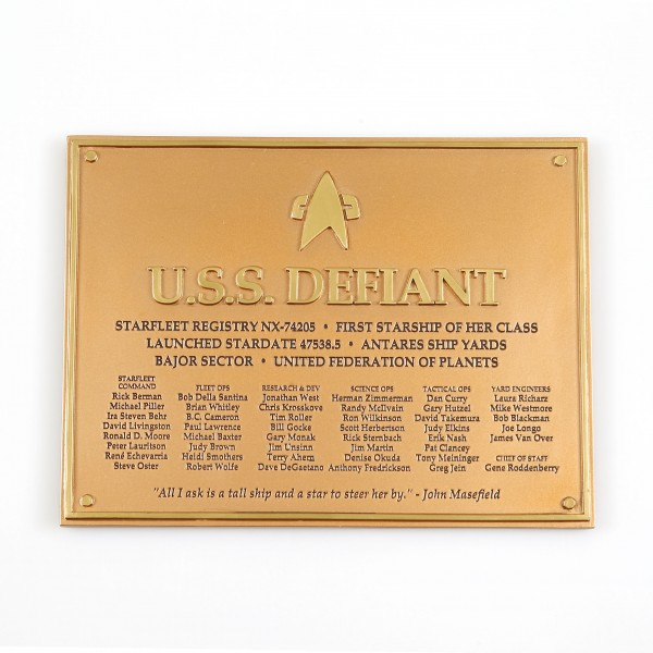 U.S.S. Defiant - Dedication Plaque