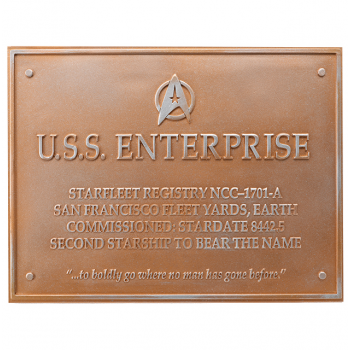 U.S.S. Enterprise NCC-1701-A - Star Trek Dedication Plaque
