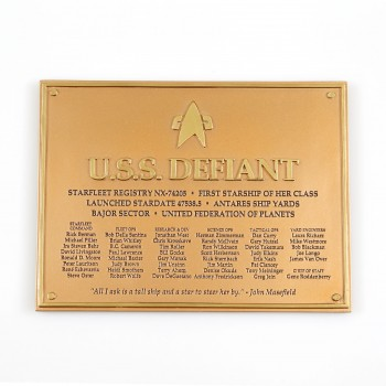 U.S.S. Defiant - Dedication Plaque Star Trek