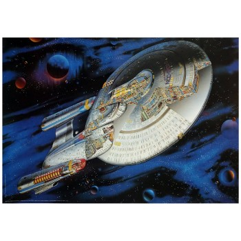 Enterprise 1701-D Cutaway in Space Poster Star Trek